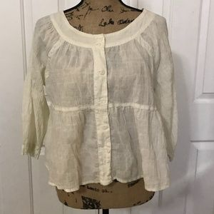 "FREE PEOPLE ""Sea to Shore"" Blouse, Ivory, S"